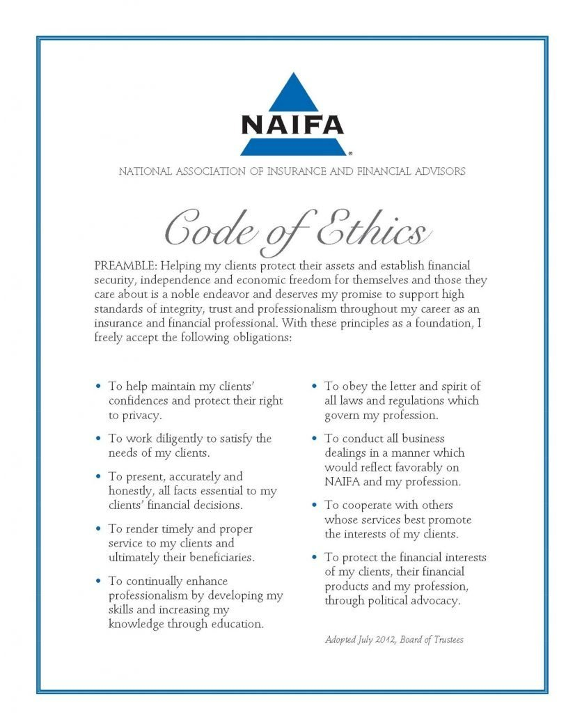 Certificate NAIFA Code of Ethics Dolphin Insurance School